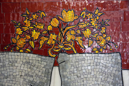 Street Murals by Laura F. Gibellini seen at Fresh Pond Subway Station, Queens - DOM (Variations)