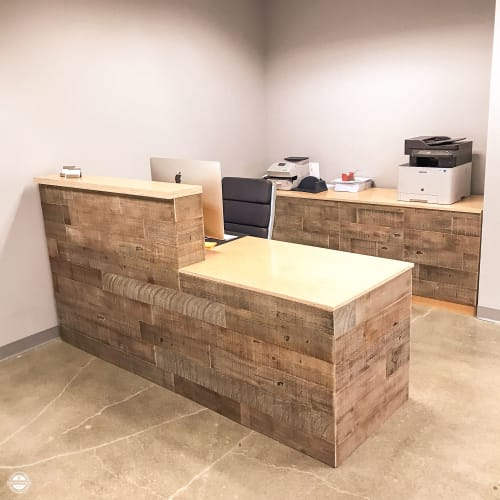 Furniture by HENNEYDESIGNS seen at 6701 Center Dr W, Los Angeles - Reception Desk and Cabinet