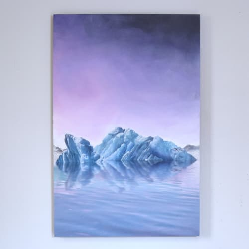 Paintings by Van Charles seen at Rosso Coffee Roasters - Inglewood, Calgary - Iceberg Sun Set