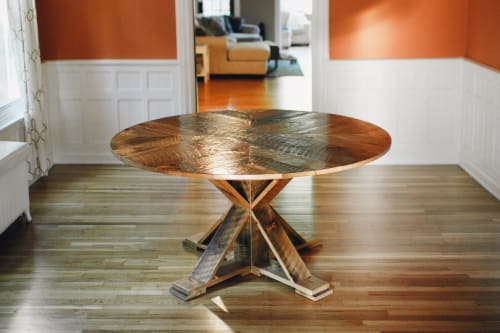 Tables by Five Acres Furniture and Design seen at Private Residence, Buffalo - Rustic Round Dining Table