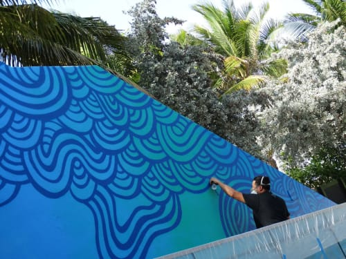 Murals by Jorge-Miguel Rodriguez seen at Royal Palm South Beach Miami, a Tribute Portfolio Resort, Miami Beach - Waves Mural