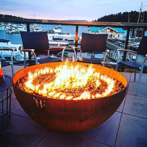 Fireplaces by John T Unger seen at Downriggers - Friday Harbor, Friday Harbor - Compass Sculptural Firebowl