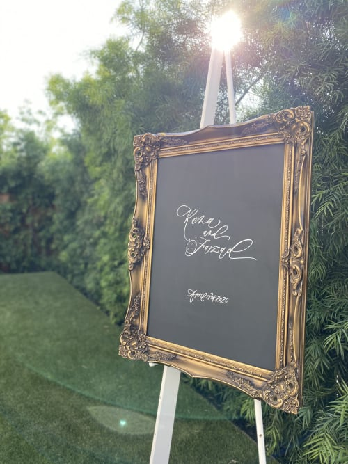 Signage by Paper Cliché seen at Private Residence, Costa Mesa - Wedding Signage & Rentals