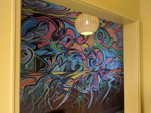 Murals by Marty Katzoff seen at Broken Shaker at Freehand New York, New York - Broken Shaker Entrance Hall