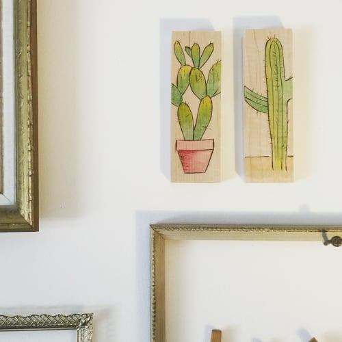 Paintings by ReGrain Studio seen at Sage Organic Skincare, Phoenix - Cactus