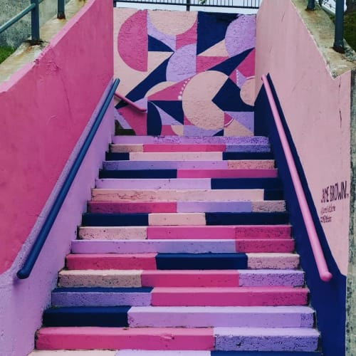 """Street Murals by Jaime J. Brown seen at Mulgrave Park, Halifax - """"Cotton Candy Stairs"""" Mural"""