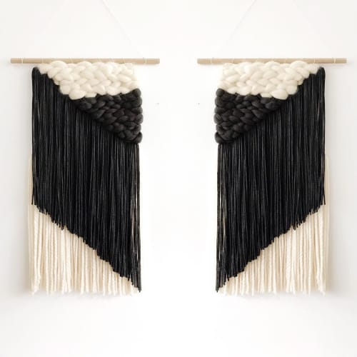 Macrame Wall Hanging by Erin Barrett  (Sunwoven) seen at Private Residence, Charleston - Mirrored Asymmetrical Pairs