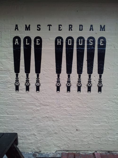 Signage by Noble Signs seen at Amsterdam Ale House, New York - Mural for Amsterdam Ale House