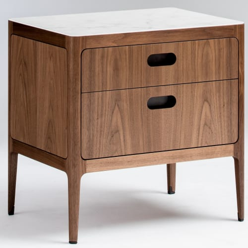 Tables by Munson Furniture seen at Bay Area Made x Wescover 2019 Design Showcase, Alameda - Two Drawer Nightstand in Walnut with Brass Details