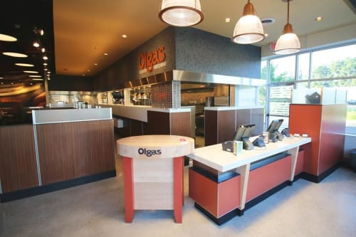 Interior Design by Martone Design Studio LLC seen at Olga's Kitchen, Monroe - Interior Design