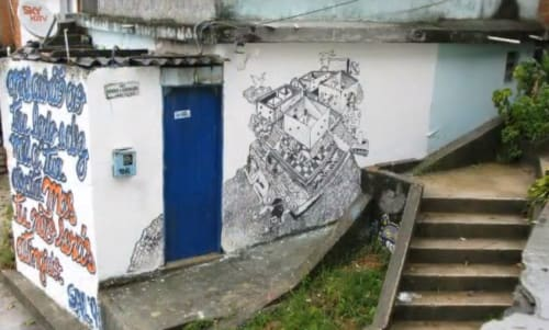 Murals by Michael Hawkins seen at Private Residence, Vidigal - Mural
