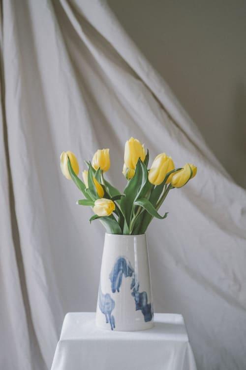 Vases & Vessels by Common Goods Studio seen at Private Residence, Toronto - Blue brush stroke porcelain vase