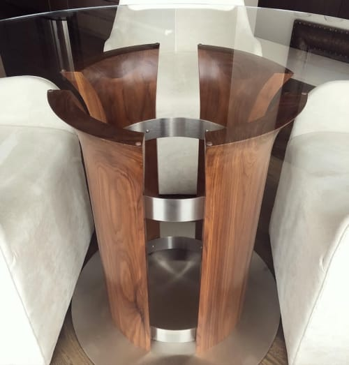 Tables by Aspen Woodshop seen at Private Residence, Kansas City - Sculpted Walnut Table Base
