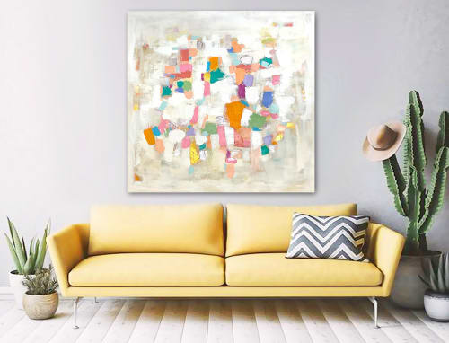 Paintings by Linnea Heide contemporary fine art seen at Private Residence, Raleigh - 'CARTAGENA' original abstract painting by Linnea Heide