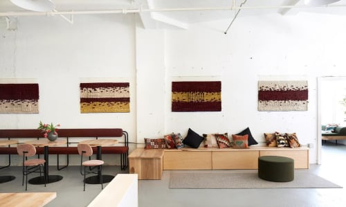 Wall Hangings by Laura Gross seen at Beauty Shoppe, Butler St. Lofts, Pittsburgh - Beauty Shoppe Co-Working Space Textile Installation