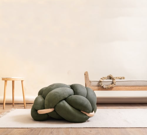 Large Army Green Vegan Suede Knot Floor Cushion   Benches & Ottomans by Knots Studio