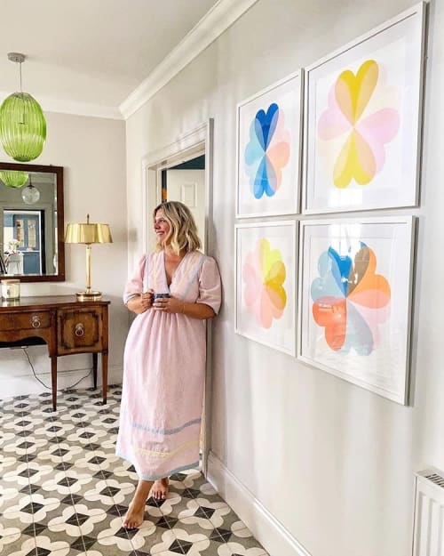 Paintings by Hannah Carvell seen at Private Residence - Limited Edition Hearts and Flowers Screen Prints