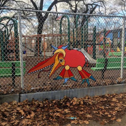 Public Sculptures by Jessica Curtaz seen at Starr Garden Playground, Philadelphia - Yarn Bomb Monster