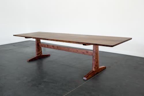 "Tables by Studio Moe seen at Creator's Studio, Portland - 108"" Columbia Trestle Dining Table in Oregon Black Walnut"