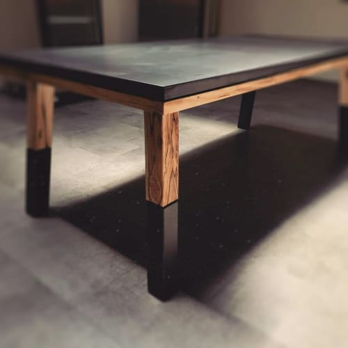 Tables by Woven 3 Design seen at Missoula, Missoula - Concrete, wood, and steel dining table