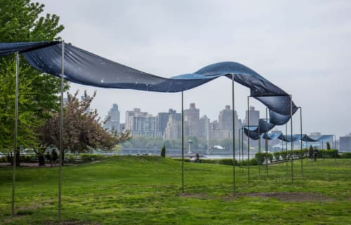 Public Sculptures by Miya Ando seen at Socrates Sculpture Park, Queens - Ginga (The Silver River)