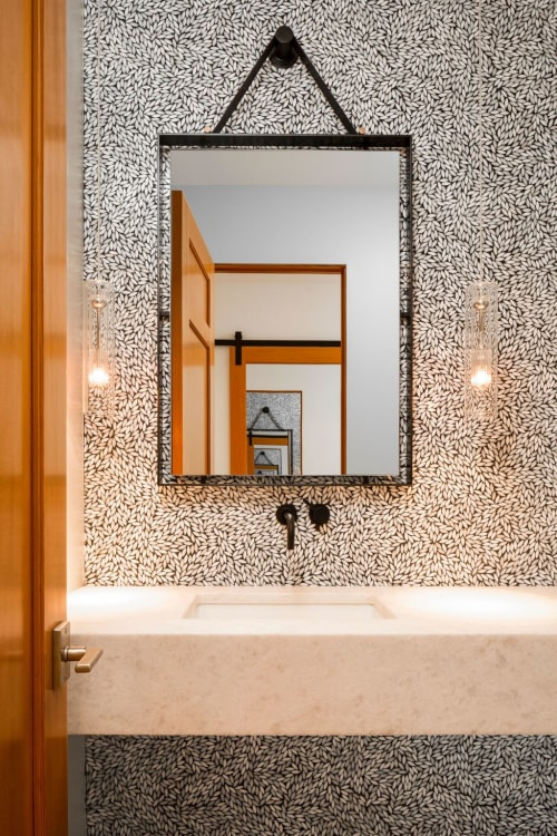 Furniture by Industrial Arts LLC seen at Private Residence, Denver - Powder room mirror