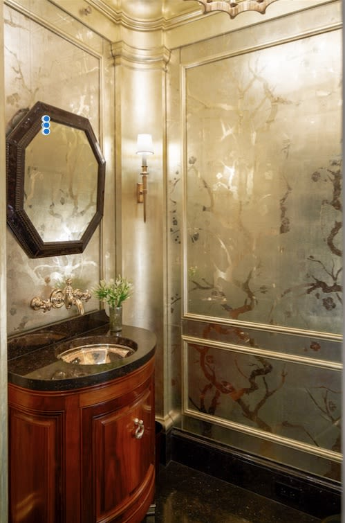 Murals by Vesna Bricelj seen at Private Residence, New York - Verre eglomise panels in a Manhattan powder room room