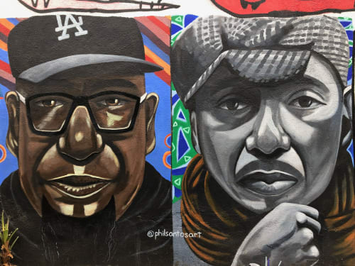 Murals by Phil Santos seen at Accomplice Bar, Los Angeles - Movers and Shakers