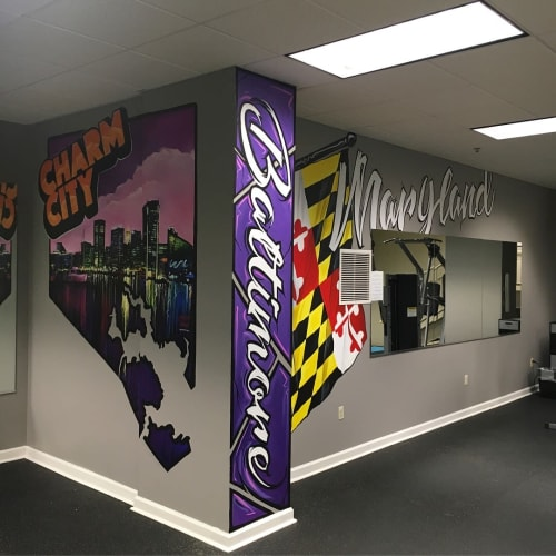 Murals by Murals by Marshall Adams seen at Camden Court Apartments, Baltimore - Workout room mural for Camden Court Apartment