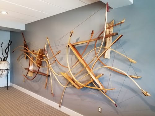 Sculptures by Oliver Clark - We Are Clark Studios seen at Private Residence, Kansas City - Odysseus #1 Wooden Curvilinear Abstract Sculpture
