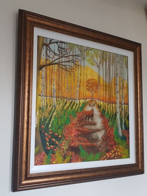 Paintings by Carolina Arbuthnot seen at Private Residence, Solihull - Autumn Stag