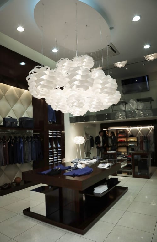 Lamps by Linea Zero seen at Tombolini Boutique, Milano - Cloud light-installation