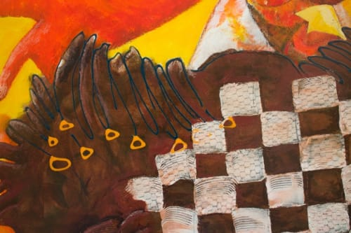 Paintings by Missy Pierce seen at Private Residence, Boca Raton - Abstracted painting of a rooster and hens