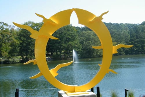 Public Sculptures by Gus Lina Fine Art seen at Sims Lake Park, Suwanee - Sunset