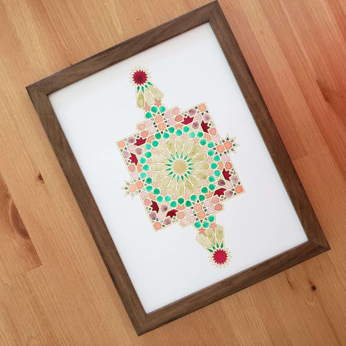 Wall Hangings by Zahra Ammar seen at Private Residence, Sacramento - Geometric Watercolor Art