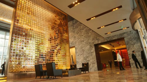 Public Sculptures by Art Glass Solutions seen at Conrad Beijing, Chaoyang Qu - Armour Screen @ Lobby Entrance