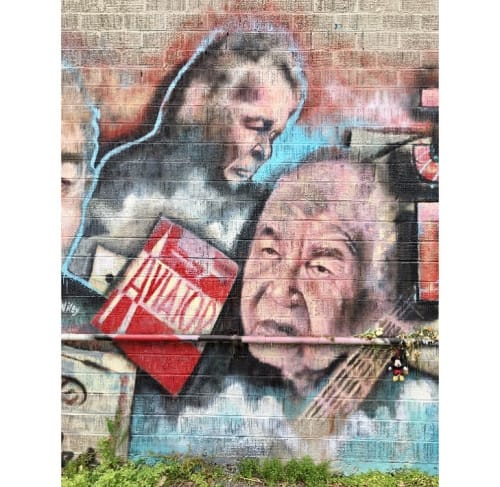 Street Murals by Wiley Ross seen at ThunderCloud Subs, Austin - John Prine Mural