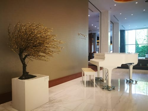 Sculptures by Valaes seen at Makedonia Palace Hotel, Thessaloniki - Olive tree sculpture
