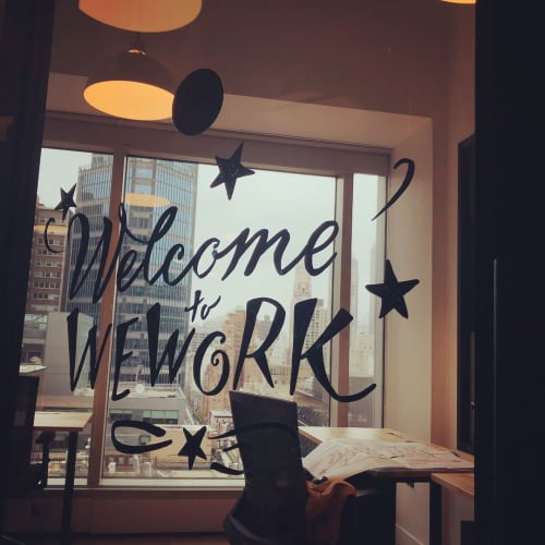 Signage by Lesley Johnson seen at WeWork, New York - Welcome Sign
