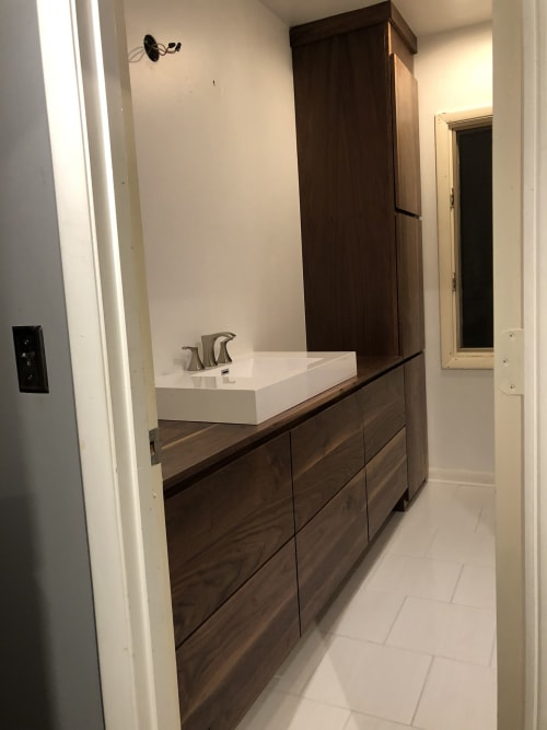 Furniture by Broken Compass Woodworking seen at Private Residence, Nashville - Custom walnut vanity