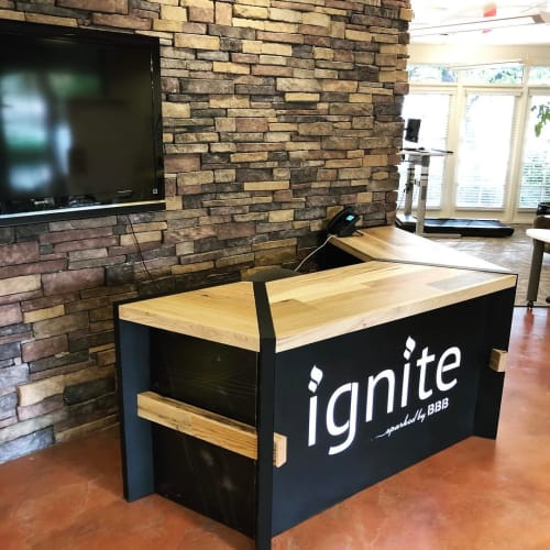 Furniture by Bang Bang Designs seen at ignite sparked by BBB, Phoenix - Reception Desk