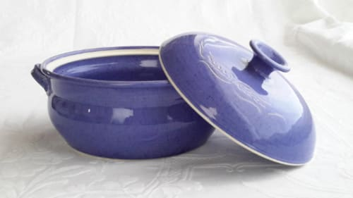 Tableware by Robin Badger & Robert Chartier seen at Private Residence, West Bolton, Quebec - Handmade cobalt blue ceramic casserole with lid