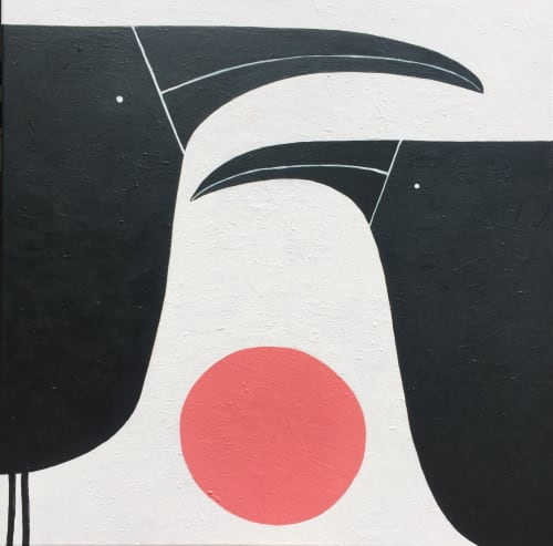 Paintings by Greta Laundy seen at Private Residence, Wagga Wagga - Two Birds and Pink Sun