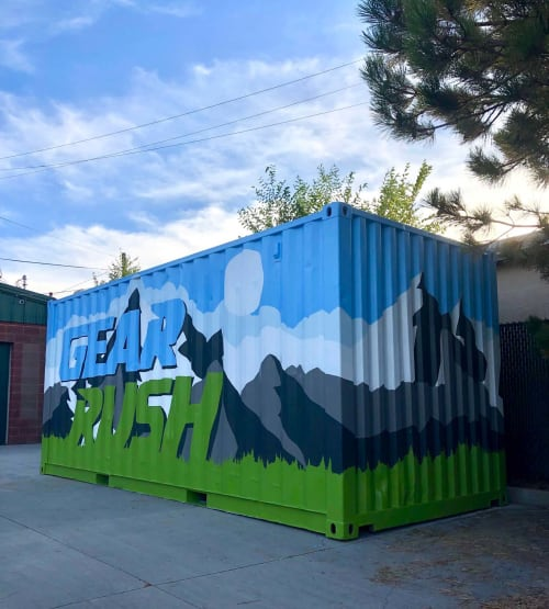 Murals by Josh Scheuerman seen at Gear Rush, South Salt Lake - Gear Rush Container