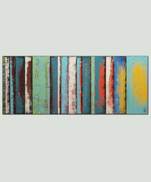 Paintings by Ronald Hunter seen at Roxier Art Gallery, Rotterdam - Original Yellow Panels