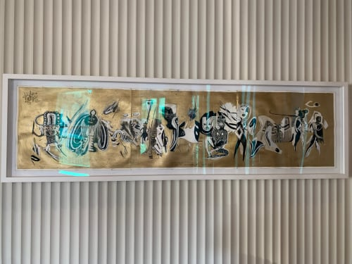 Paintings by Carlito Dalceggio seen at The Assemblage Park, New York - Gold Tribal
