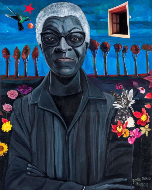 Paintings by Joyce Owens seen at Chicago State University, Chicago - Gwendolyn Brooks portraits