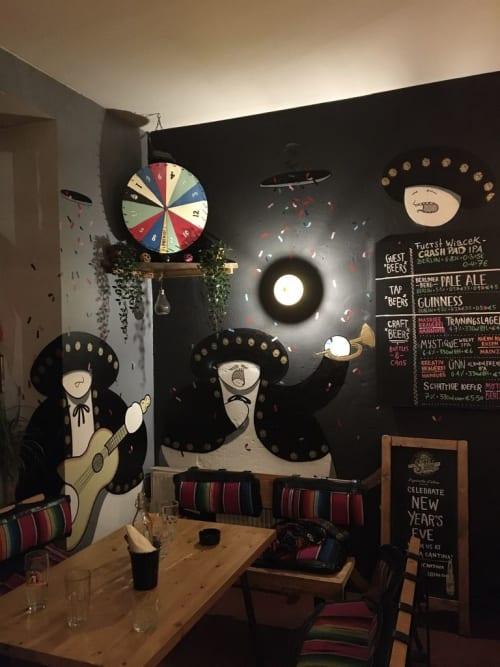 Murals by BS Just More (Bulky Savage) seen at Santa Cantina, Berlin - Mariachi Characters, Confetti and skulls