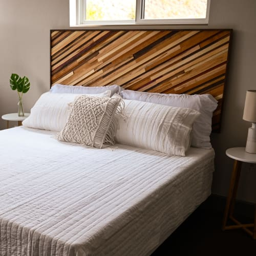 Beds & Accessories by Animas Craft Woodworks seen at Private Residence, Durango - Mixed Hardwood Headboard