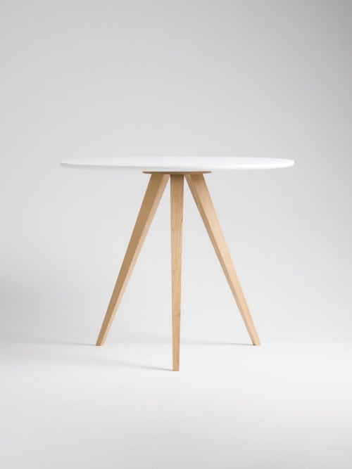 Round white table, dining table, with solid oak legs | Tables by Mo Woodwork